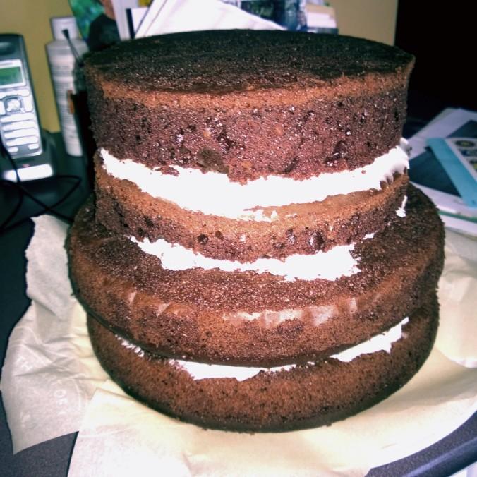 February 2015 - Preparing Deborah's practice wedding cake!